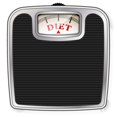 Weighing scale with Diet as measurement, diet concept vector illustration