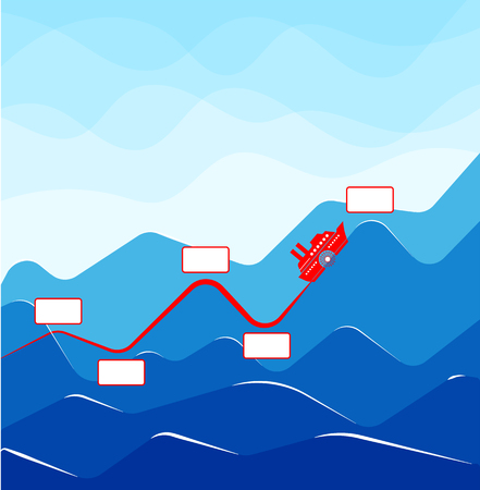 Infographics with growing indicators in the form of a ship on waves vector illustration