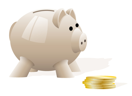 A light beige pig piggy bank on a white background. Accumulation of money. Financial investments. News about banking.