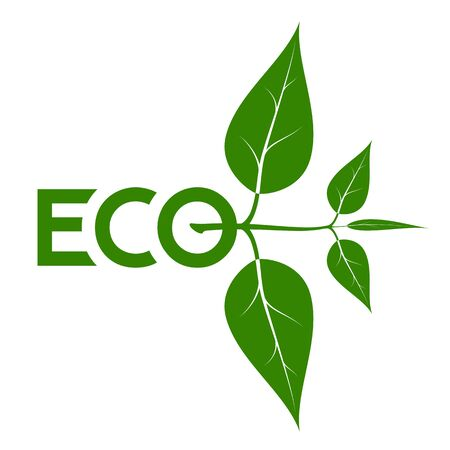Logo on the theme of ecology, energy saving, organic. Green natural color Stock Photo