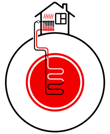 Ecological heating of the house with the help of renewable energy sources. Geothermal heat source. Black and red. Ilustração