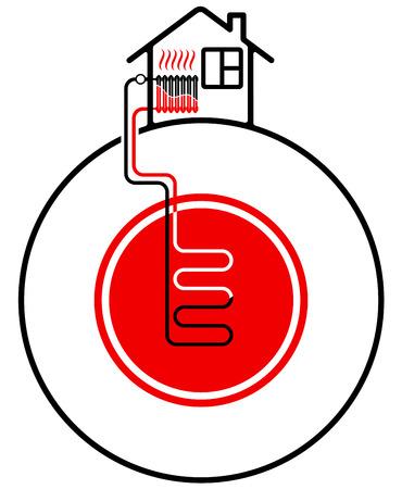 Ecologische verwarming van het huis met behulp van hernieuwbare energiebronnen. Geothermische warmtebron. Zwart en rood. Stock Illustratie