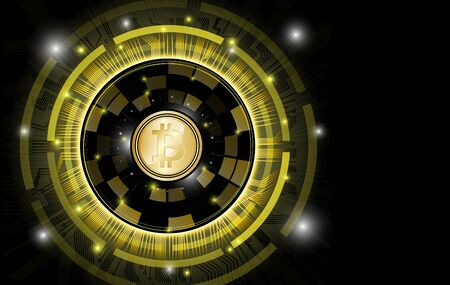 Background bitcoin gold coins on a black background. For presentation or article about the crypto currency