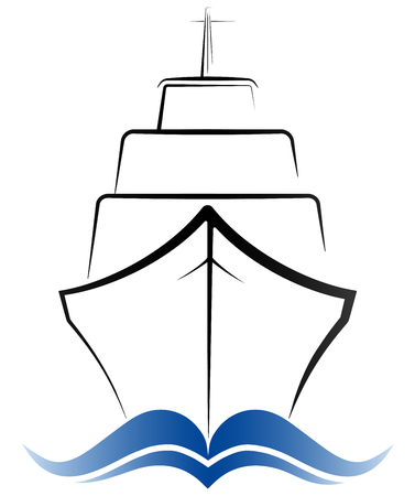 Logo passenger ocean liner. Gray and blue color. Simple design. Illustration