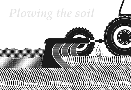Cross-section of the soil in the place of plowing. Spring or autumn field work. Occupation by farming. Copy space. Çizim
