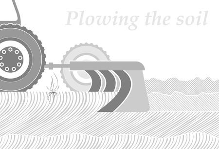Cross-section of the soil in the place of plowing. Spring or autumn field work. Occupation by farming. Copy space. Illustration