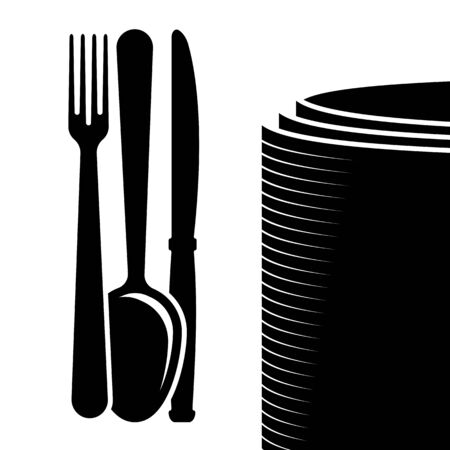 Cutlery in silhouette illustration on white background.