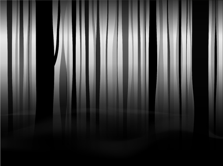 Mystical black forest with fog and smoke. Black and white fairy background. Copy space. Vettoriali