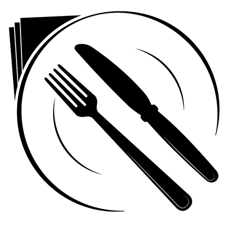 Abstract logo of a cafe or restaurant. A spoon and fork on a plate. A simple black out line.
