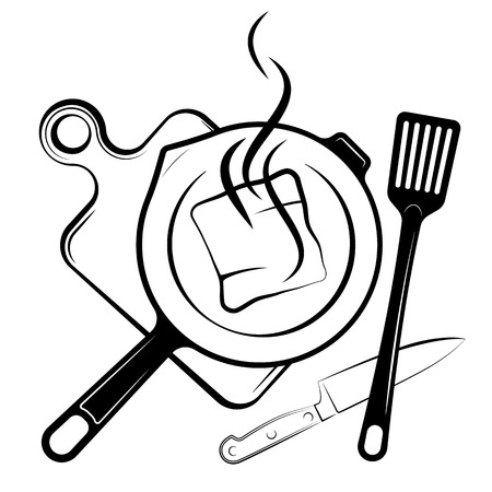Logo per il menu o il ristorante. Padella e pala per friggere. Disegno in bianco e nero.