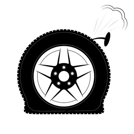 Ein platter Reifen oder ein durchlöcherter Reifen. Logo oder Emblem für Reifenmontage, Shop oder Website.
