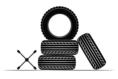 Wheels and tires are black. For a logo or emblem of a tire store or car workshop. For tire fitting. Archivio Fotografico - 113707912
