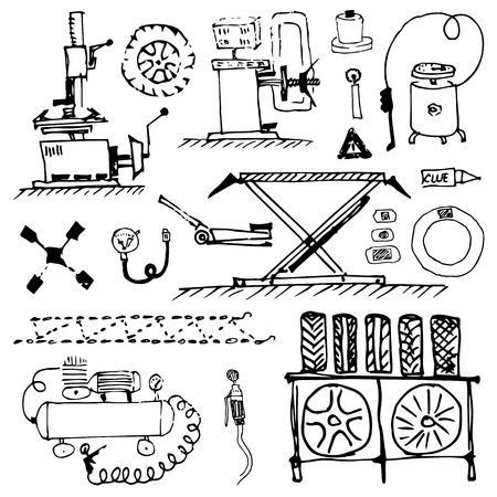 Black white doodle. Tire service and tire repair. Wheel balancing and installation. Seasonal tire change. Vector Illustration