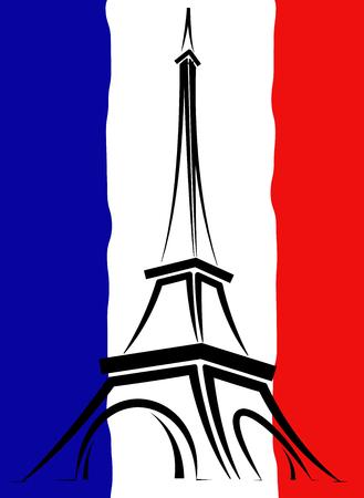 Logotipo abstracto o signo de Francia, París y la Torre Eiffel.