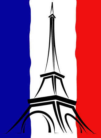 Abstract logo or sign for France, Paris and Eiffel Tower. Illustration
