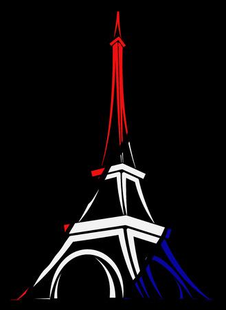 Logotipo abstracto o signo de Francia, París y la Torre Eiffel. Logos