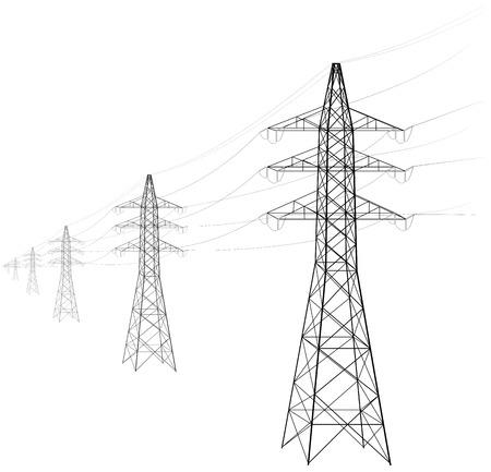 Freileitung. Eine Reihe von Elektro-Traufen entfernt sich in die Ferne. Übertragung und Lieferung von Elektrizität. Beschaffung für einen Artikel über Stromkosten oder Leitungsbau. Schwarz und weiß.