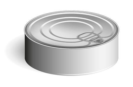 Lata con anillo. Mirada realista. Lugar para etiquetas y adhesivos