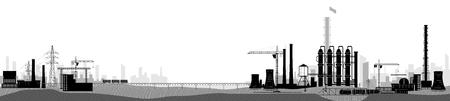 Krajobraz przemysłowy lub fabryczny. Szeroki widok poziomy. Obraz czarno-biały Ilustracje wektorowe