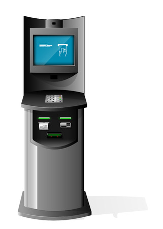 Payment Terminal, Automated Teller Machine, Advertising Stand On White Background. 3D Mock Up. Illustration Isolated On White Background. Vector EPS10.