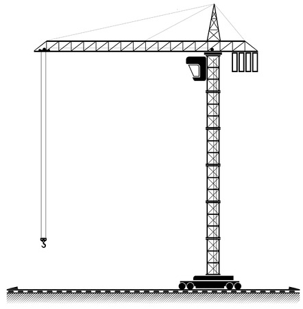 Black outline of a high tower crane. For an article about building or selling a home
