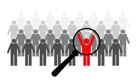 Búsqueda de reclutamiento y reclutamiento. Nuevo empleado. Elegir al mejor candidato. Examen y concurso Ilustración de vector