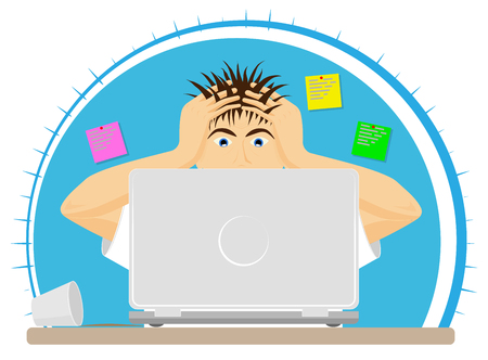 Upset or frightened man at the computer grabbed his head. The bad news. Big mistake or problem. Modern office.