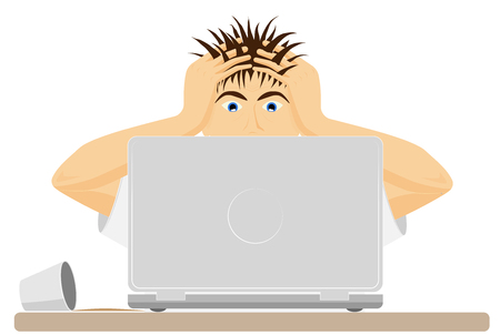 Upset or frightened man at the computer grabbed his head. The bad news. Big mistake or problem. Modern office. Vector Illustratie