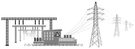 Subestación eléctrica con líneas de alta tensión. Transformadores y edificios de subestaciones. Transmisión y reducción de energía eléctrica. Ilustración de vector