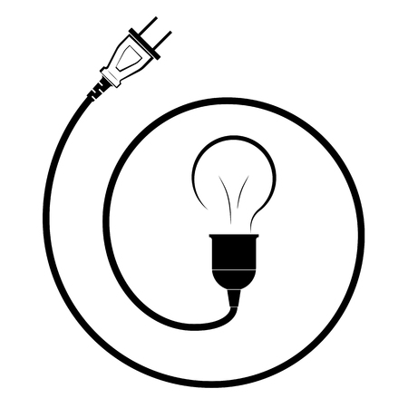 Electric incandescent lamp with wire and plug. Logo for an electrical company. Power supply and energy saving. Black and white logo.