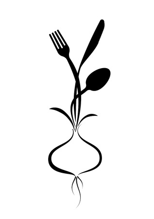 Logo for a cafe, restaurant or menu. Stylized image of a fork, knife and spoon growing from a bulb.