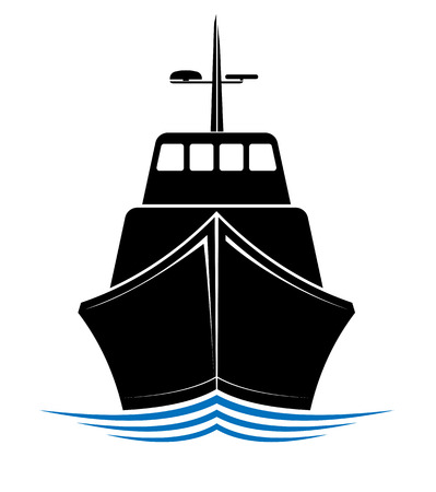 Frontal view of a floating ship, tug or boat. Logo for sea, ocean or river transport company.