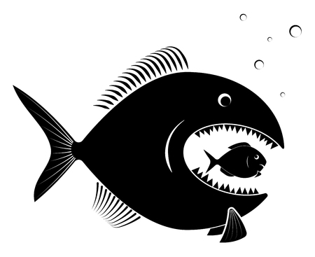 The big predatory fish eats the small defenseless. For an article on business takeover or competition. Black on white. Иллюстрация