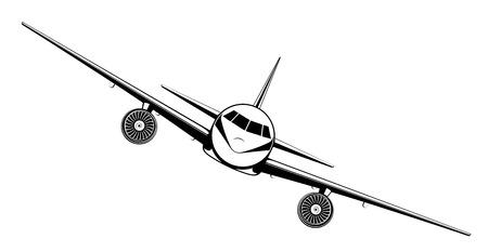 Flugzeug auf blauem Hintergrund. Flugzeug fliegt in den Himmel. Vorderansicht. Flugzeuge im flachen Stil-Vektor-Illustration.