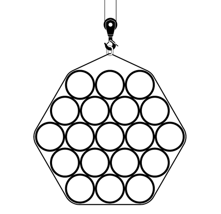 Hexagonal bundle of pipes that raises a crane. Black and white image for an article about construction or plumbing.