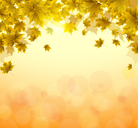Frame of yellow and orange leaves of maple. Sunny autumn or summer day. Awakening of nature. Cover or background for an article. Copy space. Иллюстрация