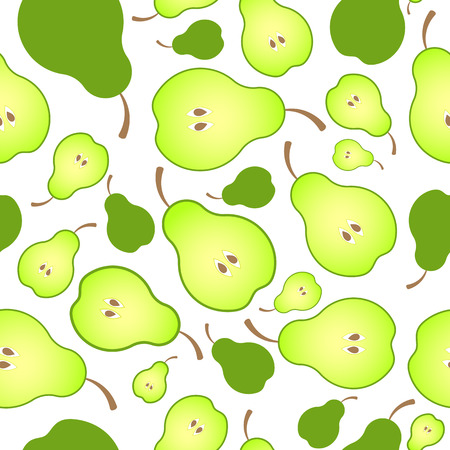 Bright seamless pattern background of halved ripe pears. Juicy fruit for juice, vitamins, mashed potatoes or baby food