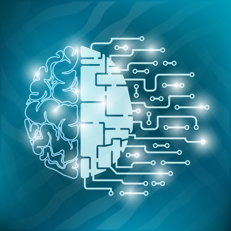 The human brain is abstract. Human hemisphere and hemisphere from a car or a robot. Electronics and nerves Ilustracja