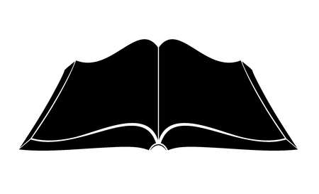 An open book on the table. Simple black outlines. Logo or emblem of a bookstore or knowledge base. FAQ