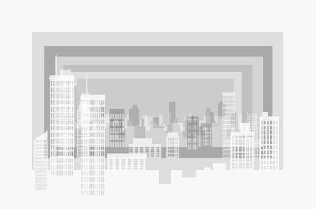 City modern contour landscape. Several plans form a three-dimensional image. Paper look.