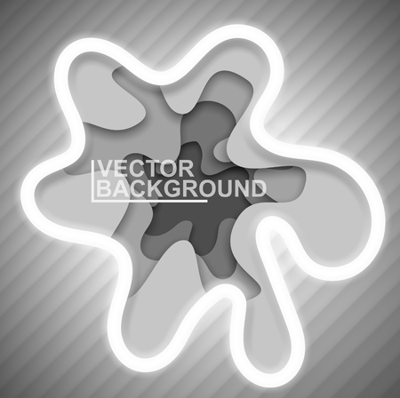 Abstract gray background for cover or poster. Volume deep image. Smooth shapeless holes or spots