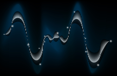 Sound waveform or sine wave. Player, playback or sound processing. Digital sound analysis. Metallic profile
