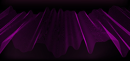 Dark background with subtle abstract waves from lines of different colors. Cover or background for presentation