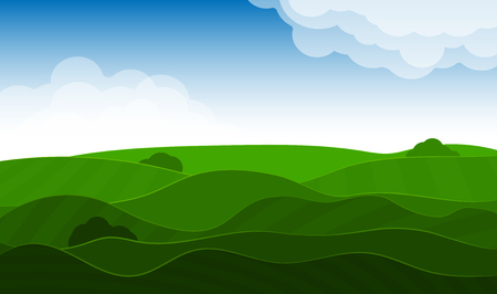 Spring vivid landscape with hills, grass and sky. Clouds and shadows. Seasons of the year spring or summer Stock Illustratie