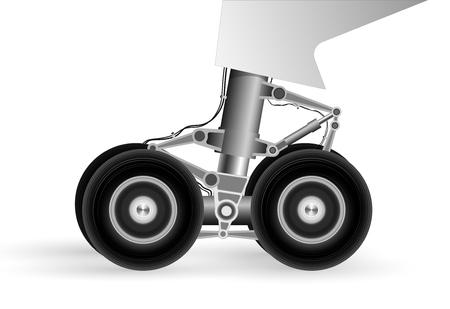 Het chassis van het moderne vliegtuig bij het landen op de baan. Wielen draaien snel