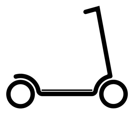 Scooter elettrico con batteria in piattaforma. Contorno nero su sfondo bianco. Moderna forma di trasporto giovanile Vettoriali