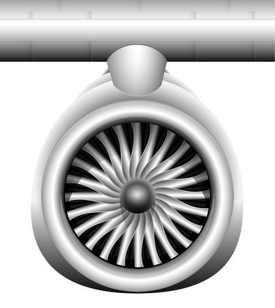 Turbina de un motor a reacción de un avión moderno. Vista frontal. Transporte de mercancías y pasajeros por vía aérea