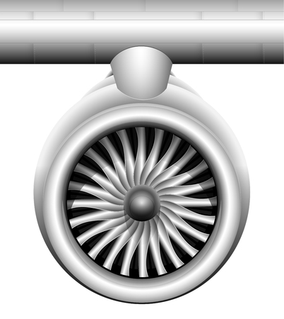 Turbine of a jet engine of a modern aircraft. Front view. Transportation of goods and passengers by air