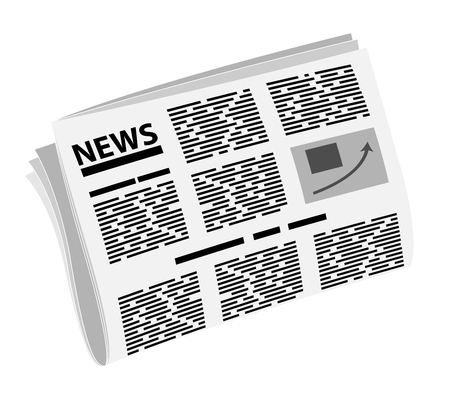 Folded newspaper in half. News or events. Badge or logo of news or yellow press 일러스트