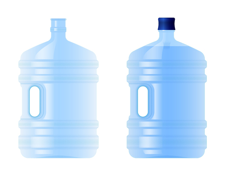 Large plastic bottle with water. Volume five gallons. Clean spring or purified water. Empty and full